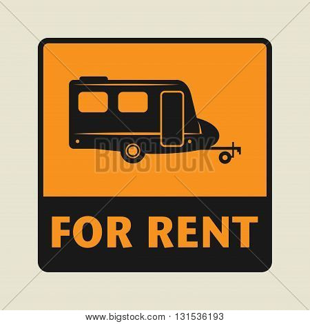 Mobile home For Rent icon or sign, vector illustration