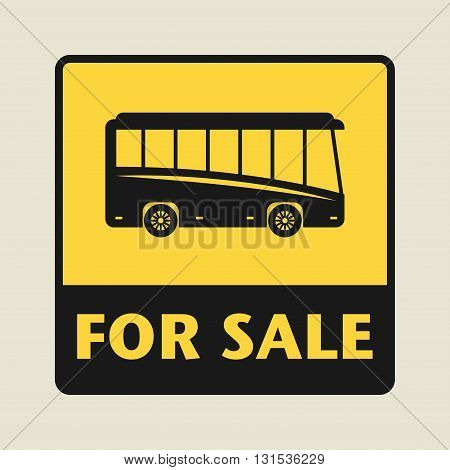 Bus For Sale icon or sign, vector illustration