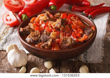 Lamb Slow Stewed With Onion, Tomato And Pepper Closeup. Horizontal