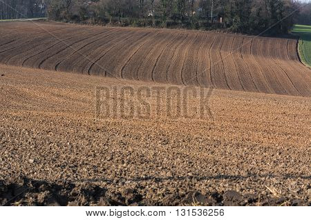 New Freshly plowed field field in Germany.