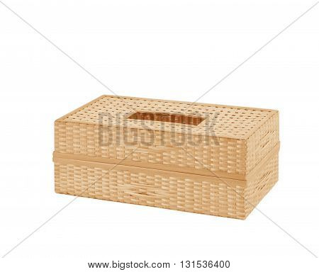 Tissue paper box made by basketry bamboo on white background