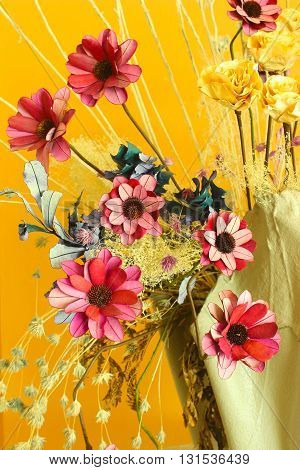 Artificial flowers bright and beautiful colors in vase