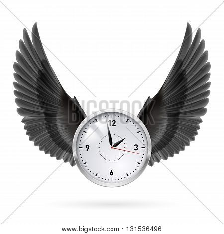 White clock and black vertical wings. Hour.