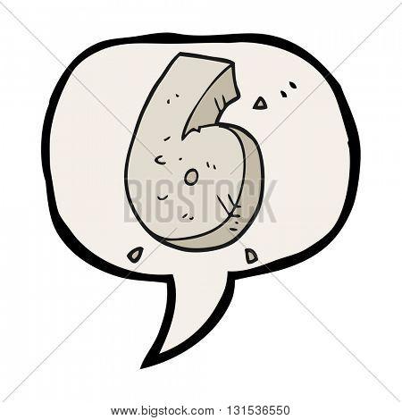 freehand drawn speech bubble cartoon stone number six