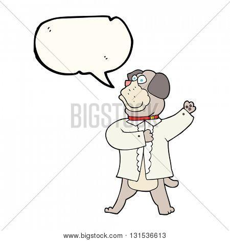 freehand drawn speech bubble cartoon dog in shirt
