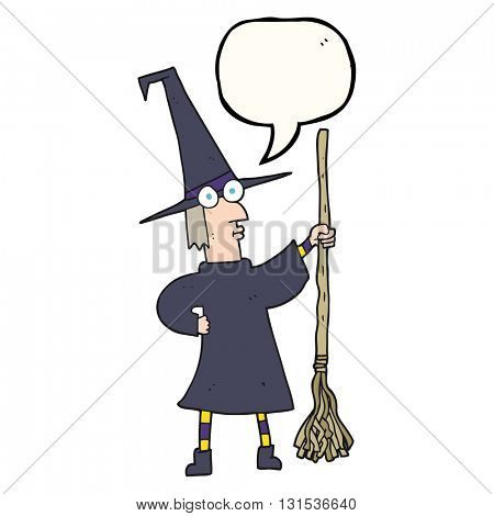 freehand drawn speech bubble cartoon witch with broom