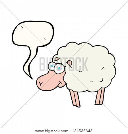funny freehand drawn speech bubble cartoon sheep