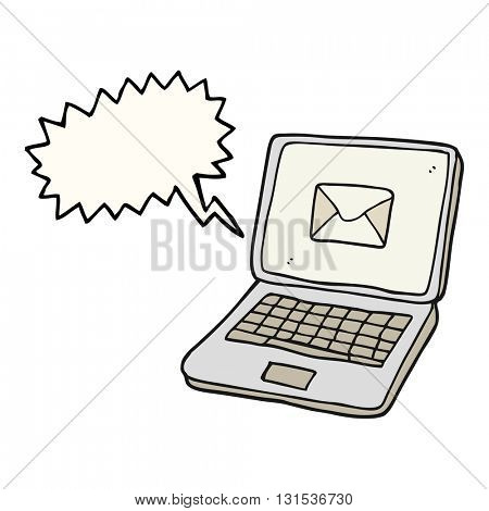 freehand drawn speech bubble cartoon laptop computer with message symbol on screen