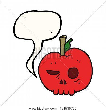 freehand drawn speech bubble cartoon poison apple
