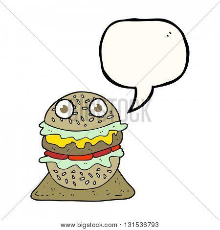 freehand drawn speech bubble cartoon tasty burger