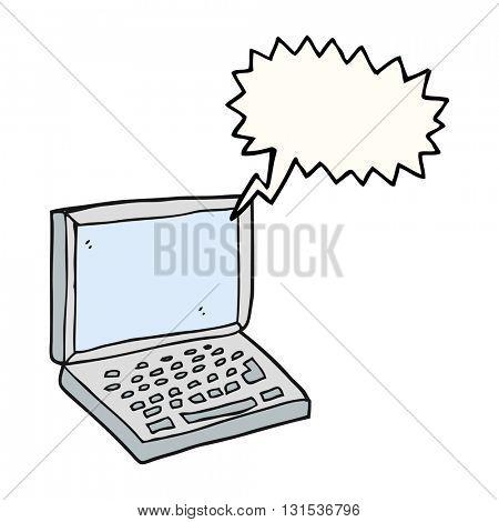 freehand drawn speech bubble cartoon laptop computer