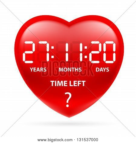Red heart with a countdown. Illustration on white background