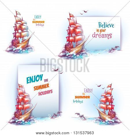 Vector travel banner set with ship in ocean.