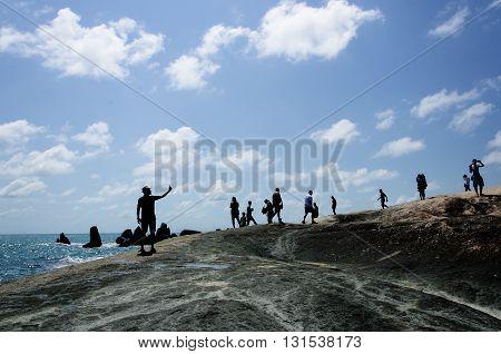 traveler selfie  shadow and dark blue sky