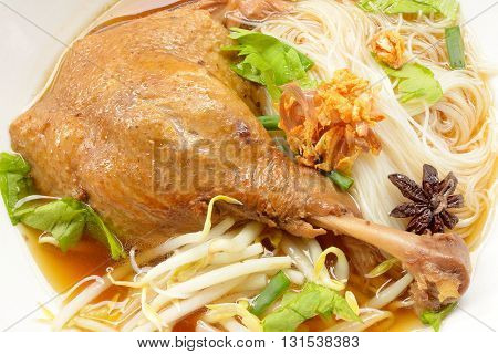 Close up The stewed duck noodles with entrails