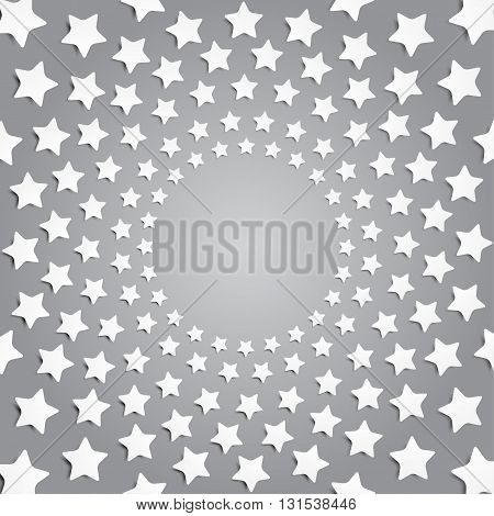 Vector abstract background. Grey stars in a circle with shadow. Eps 10.