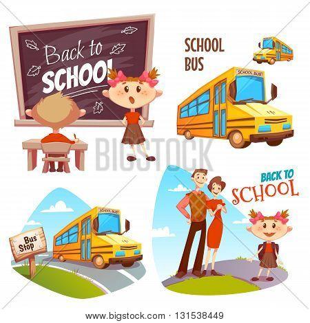 Back to school banner set. Vector illustration.
