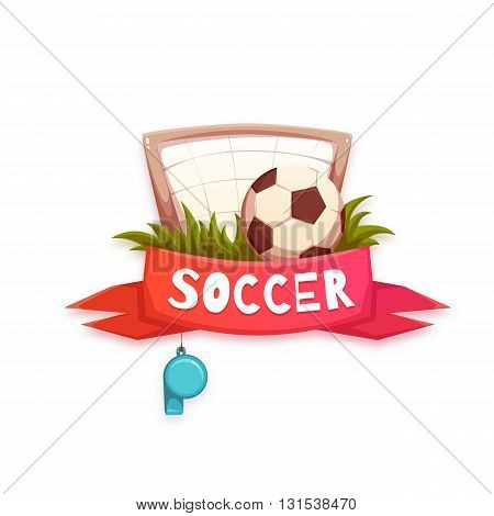 Soccer banner with football ball and goal. Vector illustration.