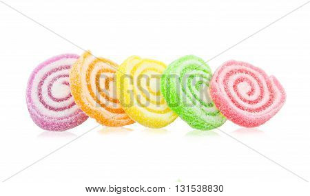 Colorful Sweet Jellies Isolated With Sugar saved clipping path.