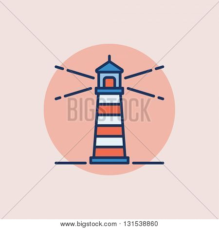 Lighthouse vector flat icon - minimal symbol or sign on pink background