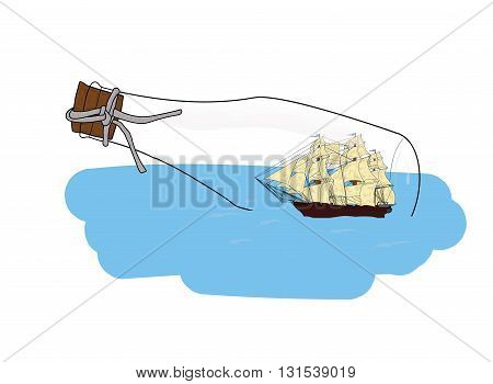 ship in a bottle into the sea. vector illustration