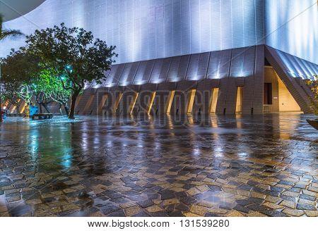 modern architecture at night in hongkong,china