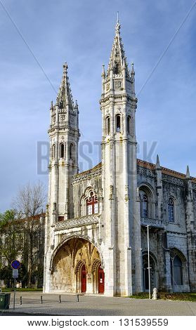 Part of the Jeronimos Monastery or Hieronymites Monastery in Lisbon Portugal. It a UNESCO World Heritage site