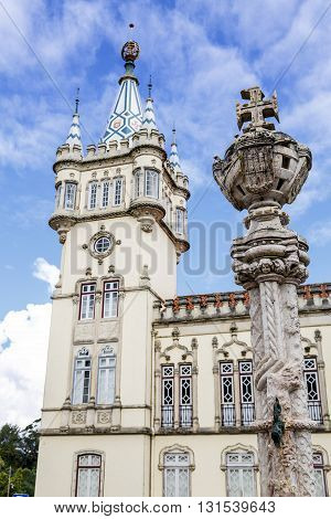Town Hall of Sintra (Camara Municipal de Sintra) remarkable building in Manueline style of architecture built in 1910 on site of old Chapel of St. Sebastian. Selective Focus