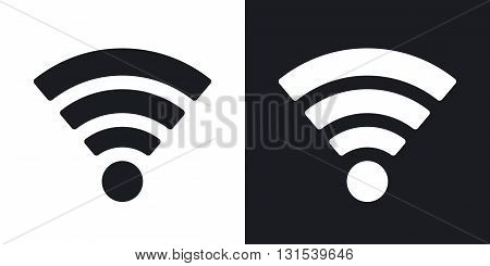 Vector wireless network icon. Two-tone version on black and white background