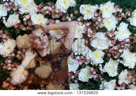 Woman On Flower Background In Double Exposure