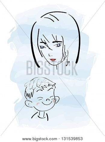 Mother and Baby. mothers Day. vector illustration