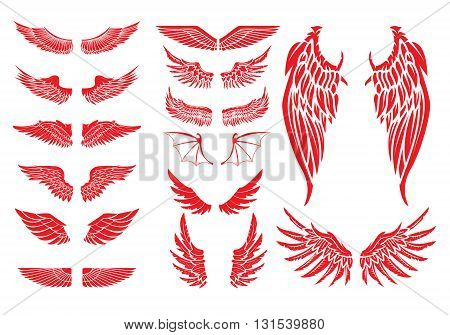Big set of vector wings isolated on white background. Design elements for logo label badge emblem sign. Vintage vector element.