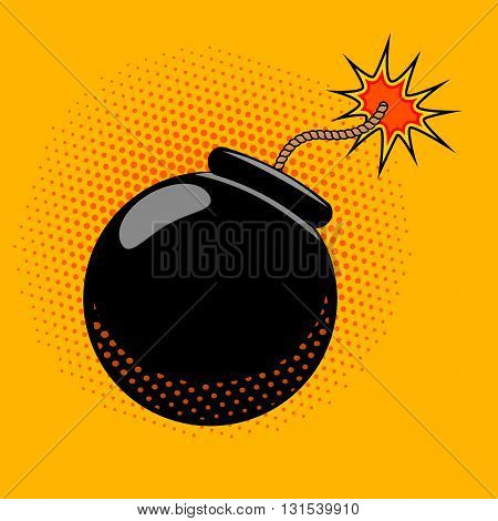Cartoon bomb with fire in pop art style. Design element in vector.