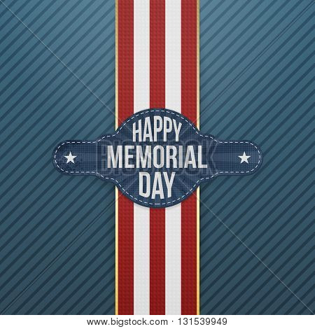 Happy Memorial Day textile Banner and Ribbon. National American Holiday Background Template. Vector Illustration