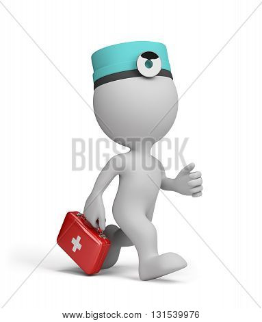 The doctor with the first aid kit in a hurry to the patient on call. 3d image. White background.
