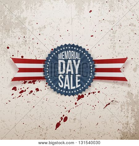 Memorial Day Sale textile Badge and Ribbon. National American Holiday Background Template. Vector Illustration