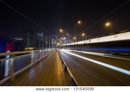 traffic trails,yangtse river bridge,chongqing china.