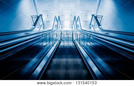 empty escalator at subway station