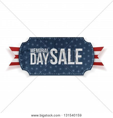 Memorial Day Sale textile Label and Ribbon. National American Holiday Background Template. Vector Illustration