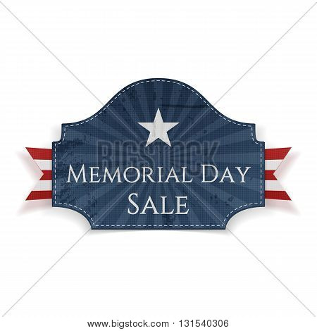 Memorial Day Sale textile Poster and Ribbon. National American Holiday Background Template. Vector Illustration