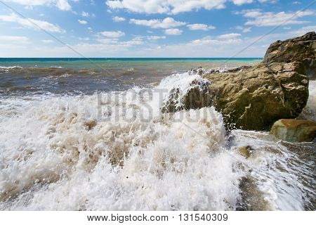 Storm large wave on the shore of the Black Sea Crimea