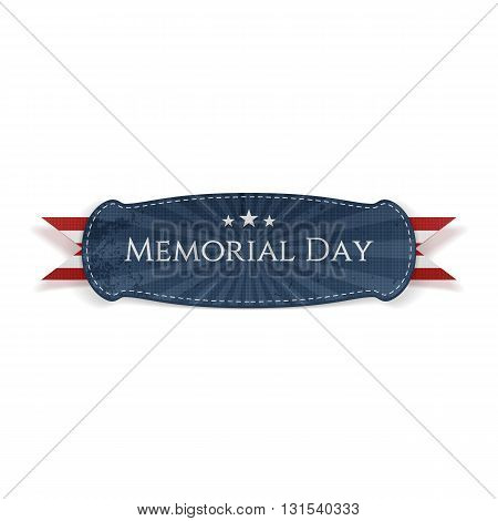Memorial Day textile Banner and Ribbon. National American Holiday Background Template. Vector Illustration.