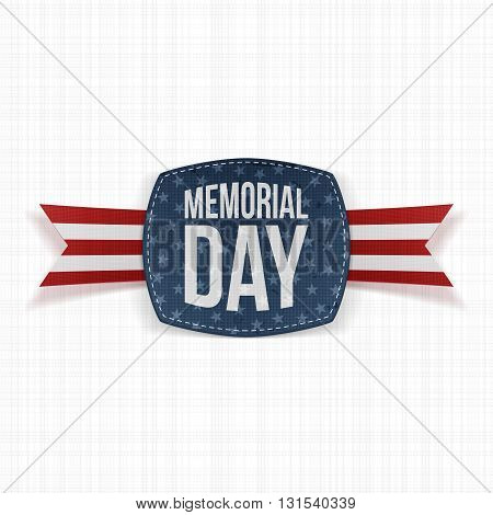 Memorial Day textile Emblem and Ribbon. National American Holiday Background Template. Vector Illustration