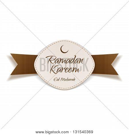 Ramadan Kareem Eid Mubarak realistic Banner with Ribbon. Islam Holiday Background Template. Vector Illustration