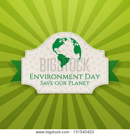 World Environment Day festive Badge and Ribbon. Ecology Background Template. Vector Illustration