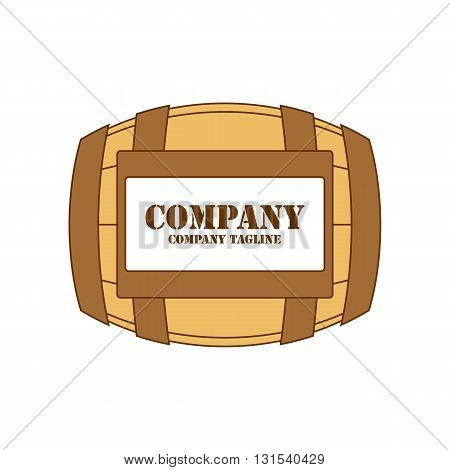 Brown wine barrel with label vector illustration isolated on white background.