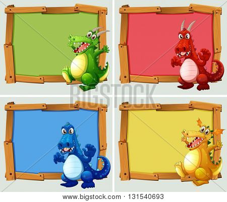 Wooden frame with dragons illustration