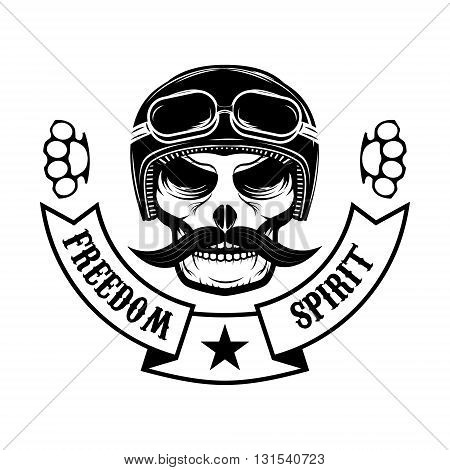 Freedom spirit. Skull with moustache in motorcycle helmet. T-shirt print template. Design element in vector.