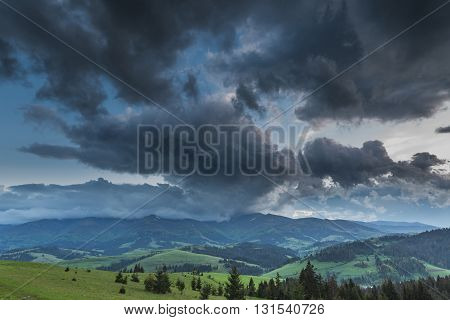 Storm Clouds Over The Mountains.
