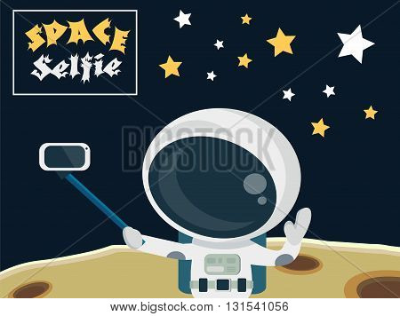 Astronaut making a selfie on the moon surface concept